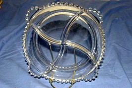 Imperial Glass Candlewick Clear Round Beaded 4 Sectioned Serving Dish 9 ... - $6.74