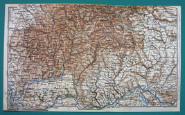 1884 MAP Baedeker - GERMANY Environs of Basel Lorrach Laufenburg Feldber... - $12.60