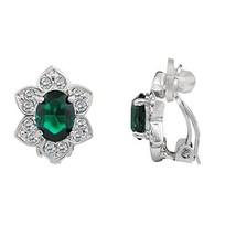 LAXPICOL Women's Vintage Flower Green Zirconia Crystal Clip-on Earrings ... - $9.97