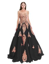 Women's Tulle Strapless Long Evening Dress A Line Applique Formal Prom Gown - $125.99