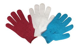 3 Pairs Ladies Plain Exfoliating Scrub Gloves, One Size Assorted Colours Pack A - $6.14