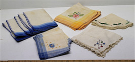 15 Pc Hand Embroidered Linen Cloth Napkin Sets Cross-Stitch Floral Patte... - $37.36