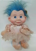 Applause Magic Trolls Babies Doll 1991 Blue Hair #46 Bow Vintage 90s Rus... - $29.69