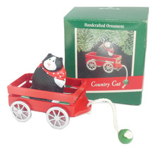 Hallmark Christmas Ornament Country Cat in Red Wagon QX4672 1989 Vintage - $13.95