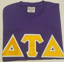 DELTA TAU DELTA - GOLD and WHITE Lettered PURPLE t-shirt: Size LARGE - $21.50