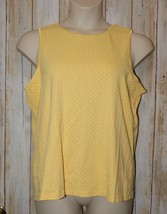 Womens Yellow White Polka Dot CJ Banks Sleeveless Shirt Size 1X excellent - $7.91