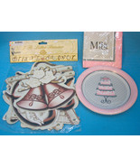 Wedding Bridal Shower Banner Decoration Plates & Napkins Silver Pink - $15.75