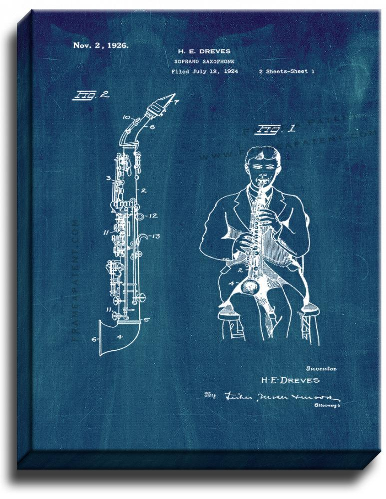 Primary image for Soprano Saxophone Patent Print Midnight Blue on Canvas