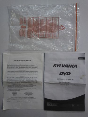 Primary image for Instruction Owner's Manual - Sylvania DVD Player SDVD1041-DG1 English & French
