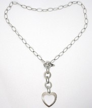 Necklace Silver 925, Chain Oval, Circles and Heart, Hanging, Satin image 2
