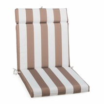 "Taupe Striped Outdoor Patio Chair Cushion Pad Hinged Seat Back 44"" L x 2... - $58.90"