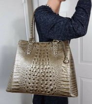 NWT BRAHMIN JOAN PEWTER MELBOURNE LEATHER LARGE TOTE SHOULDER BAG W/regi... - $286.11