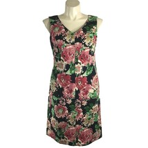 NEW Talbots 14 Dress Sheath Black Pink Green Watercolor Floral Heavy Cot... - $49.95