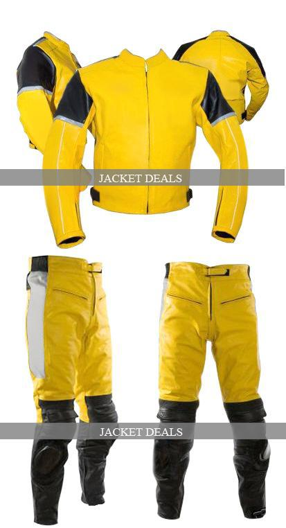 NWT Yellow & Black Biker Motorcycle Racing Jacket Trouser Suit - Genuine Leather