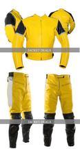 NWT Yellow & Black Biker Motorcycle Racing Jacket Trouser Suit - Genuine Leather image 1