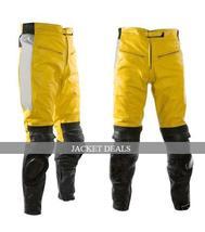 NWT Yellow & Black Biker Motorcycle Racing Jacket Trouser Suit - Genuine Leather image 2