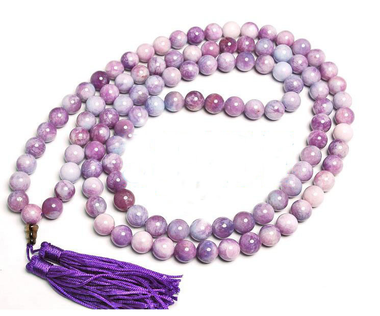 Tibetan 108 Purple Flake Jade Prayer Beads Mala