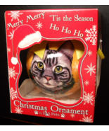 E&S Pets Christmas Ornament Silver Tabby Cat Kitten with Yellow Ribbon B... - $6.99