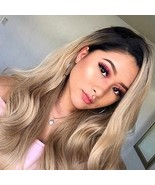 Tinfun Ombre Blonde Glueless Synthetic Lace Front Wig Dark Root Long Wav... - $19.03