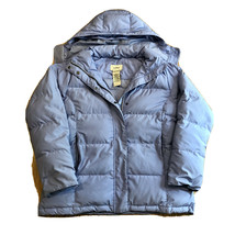 LL Bean Womens Hooded Down Puffer Jacket Coat Blue Size Medium Removable... - $59.99