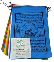 Handmade Large Cotton Medicine Buddha Prayer flags in Tibetan with Engli... - $12.27