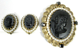 Pin And Earrings Black Glass Cameos Rhinestones Pearls West Germany Filigree 50s - $48.00
