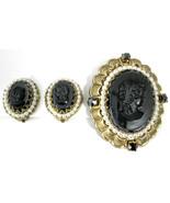 Pin And Earrings Black Glass Cameos Rhinestones Pearls West Germany Fili... - $48.00