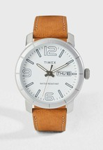 Timex Men's TW2R64100 Model 44 White Dial Brown Leather Strap Day/Date W... - $33.66