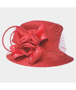 Ginga's Galleria Red Studded Bow Flower Mesh Dressy Derby Hat - $45.00