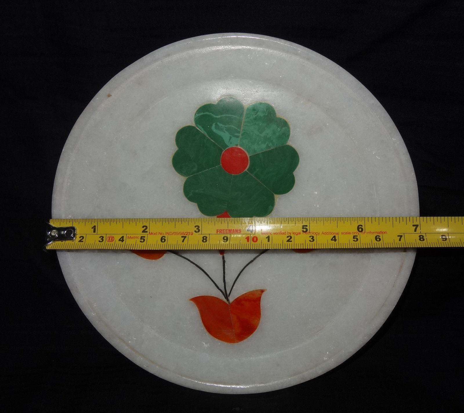 "7"" Marble Malachite Plate Floral Design Hakik Inlaid"