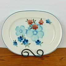 """Noritake Serving Platter Versatone Glimmer Blue Floral Oval 13"""" Made Japan  - $24.95"""