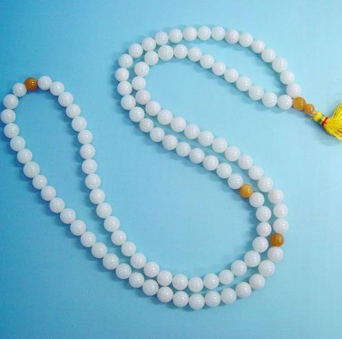 Tibetan 108 Natural white Jade Prayer Beads Mala