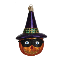OWC MASKED JACK O'LANTERN w/ PURPLE WITCH HAT GLASS HALLOWEEN ORNAMENT 2... - $14.88