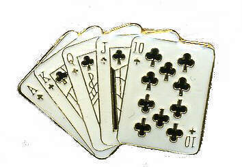 12 Pins - AKQJ10 , royal straight flush cards pin #369 Bonanza