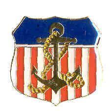 12 Pins - AMERICAN FLAG SHIELD WITH ANCHOR navy pin 633 Bonanza