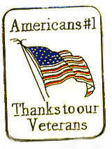 12 Pins - Americans #1 Thanks To Our Veterans , Pin #11 - $9.50