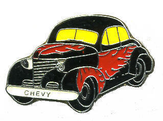 12 Pins - BLACK CHEVY CAR WITH RED FLAMES hat pin #117 Bonanza