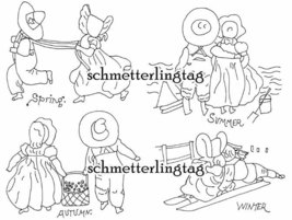 1930s Embroidery Iron-on Transfer Sunbonnet Sue Quilt Depression 30s Prohibition - $4.99