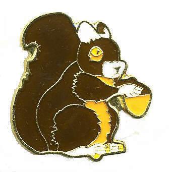 12 Pins - BROWN SQUIRREL w/ ACORN hat cap lapel pin 362 Bonanza