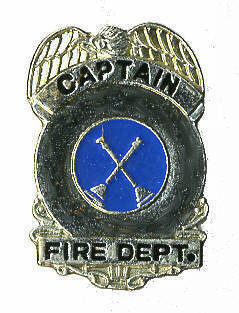 12 Pins - CAPTAIN FIRE DEPARTMENT fighter hat pin #233 Bonanza