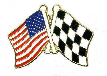 12 Pins - CHECKERED & AMERICAN FLAGS flag lapel pin 147 Bonanza