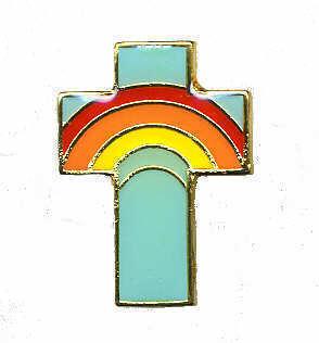 12 Pins - CROSS w/ RAINBOW , religous lapel pin #284 Bonanza