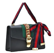 GUCCI Silvi Hand Shoulder Bag 421882 CVLEG Ribbon Strap Sherry Line Blac... - $3,657.60