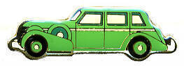 12 Pins - GREEN CAR classic antique hat lapel pin #135