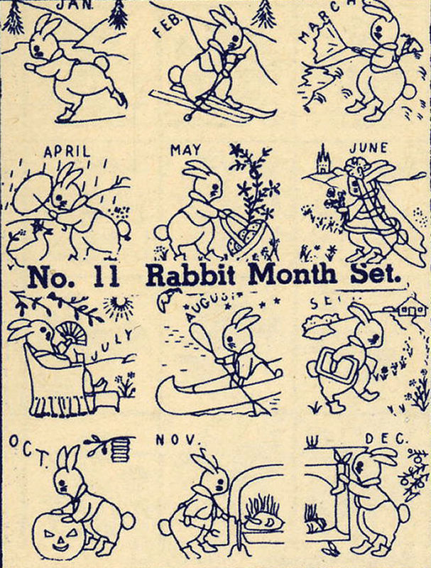 1930s Embroidery Iron-on Transfers Bunny Rabbit Cottontail Quilt 30s Prohibition