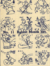 1930s Embroidery Iron-on Transfers Bunny Rabbit Cottontail Quilt 30s Prohibition - $4.99