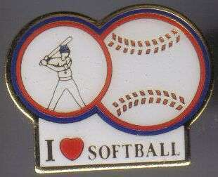 12 Pins - I LOVE SOFTBALL , player hat lapel pin #614
