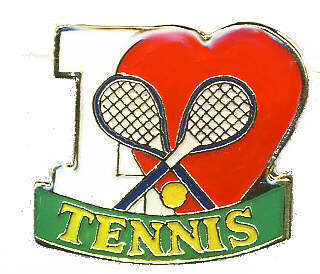 12 Pins - I LOVE TENNIS , player racket heart pin #389