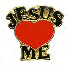 12 Pins - JESUS LOVES ME religous heart lapel pin #281 - $9.50