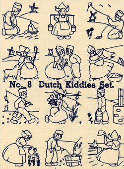 1930s Embroidery Iron-on Transfers Dutch Child Quilt Depression 30s Prohibition